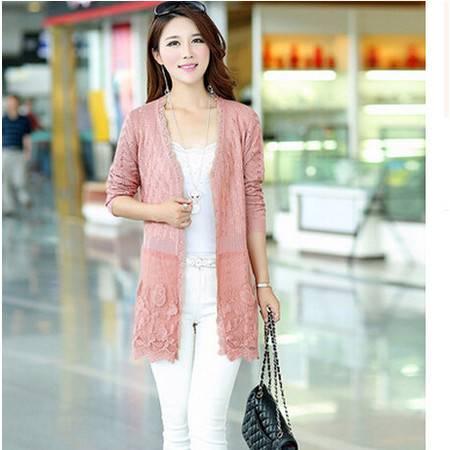 2016秋季新款韩版女式针织开衫 宽松镂空蕾丝针织开衫洪合