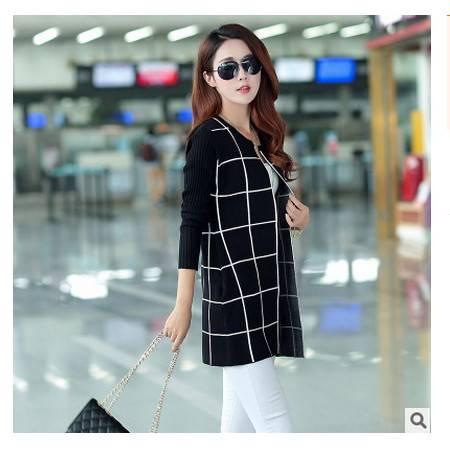 韩版大码毛衣外套格子针织衫羊绒开衫秋季新款中长款针织开衫永飞