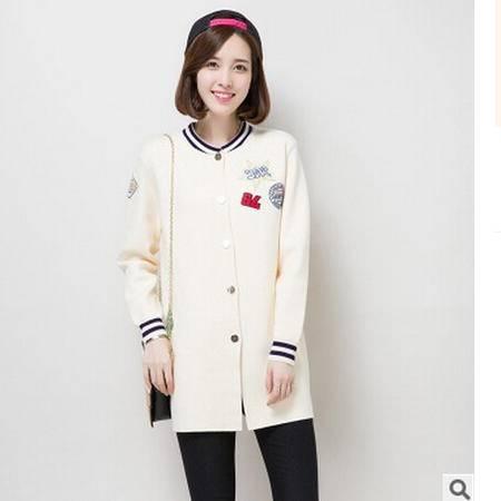 秋冬新品韩国女装 开衫毛衣外套中长款针织衫洪合