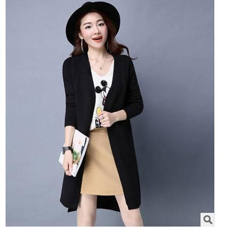 冬装新款韩版纯色毛开叉针织衫麻花厚宽松开衫中长款毛衣外套洪合