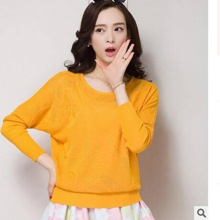 2016秋装新款韩版镂空套头打底衫宽松毛衣外套针织衫女长袖洪合