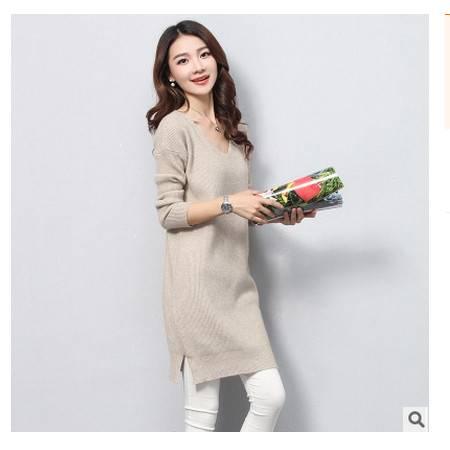 宽松套头毛衣女长款纯色针织打底裙秋冬新款韩版大码女装永飞包邮