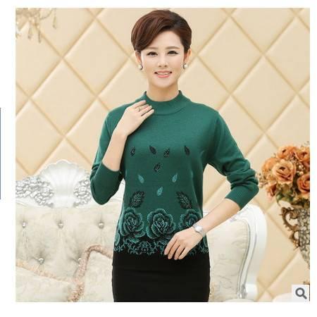 长袖印花针织中年妈妈装打底衫秋冬装新款中老年女式毛衣永飞包邮
