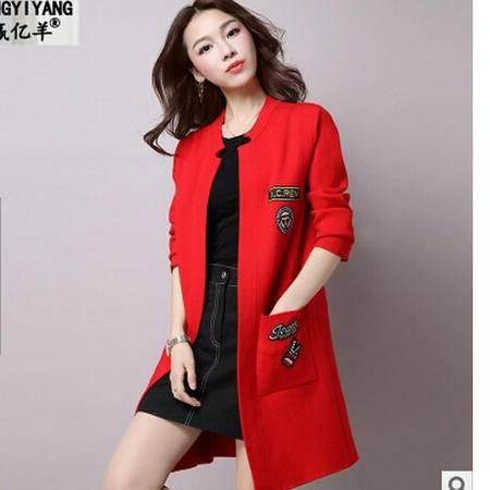 秋季新款韩版大码中长款针织衫开衫女宽松圆领字母毛衣女外套洪合
