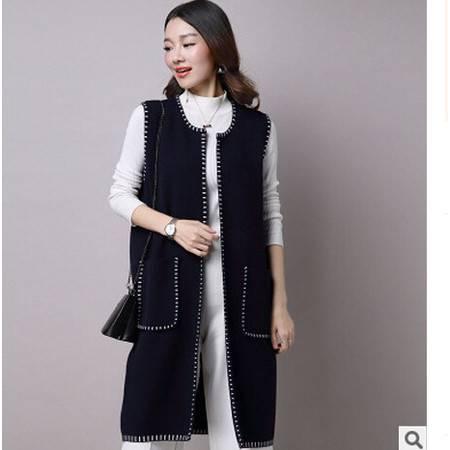 秋冬新款韩版无袖大码女装中长款宽松针织开衫毛衣外套洪合
