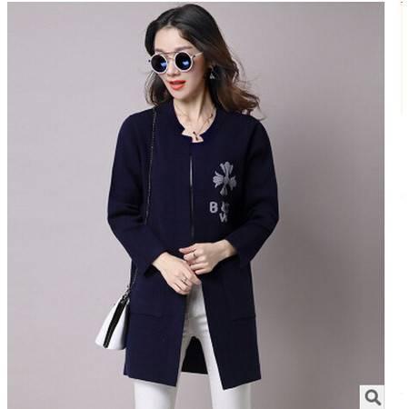 新款纯色毛衣女中长款宽松针织衫立领大口袋开衫韩版学生大衣外套洪合