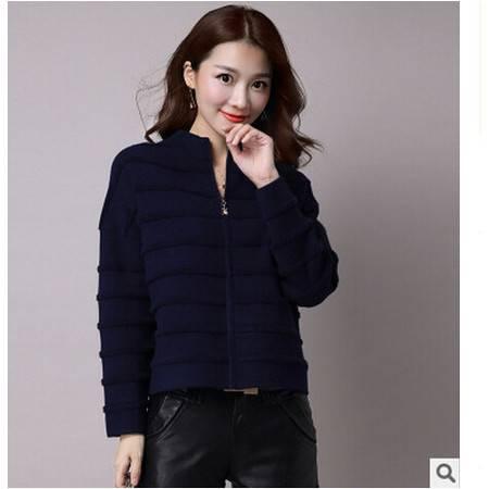 秋季韩版女装拉链针织开衫宽松大码条纹加厚毛衣女长袖洪合