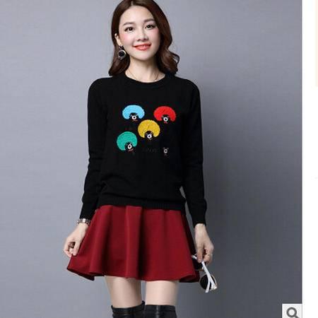 秋冬新款韩版修身百搭套头女式针织衫 卡通长袖打底衫毛衣洪合