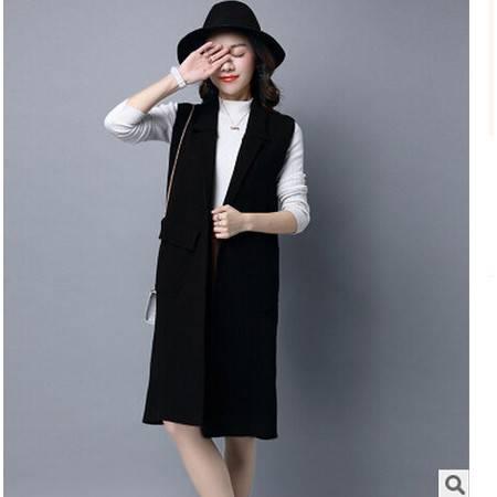 针织衫开衫女 中长款韩版秋新款修身纯色无袖大码女装外套洪合