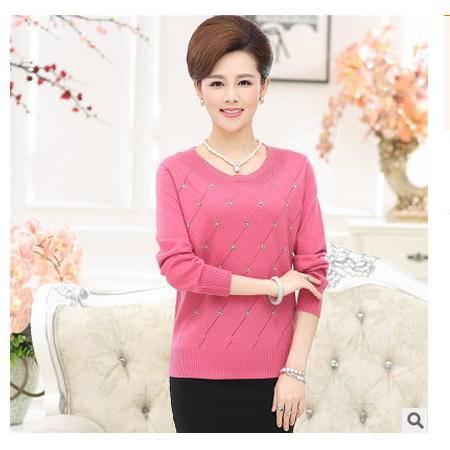 针织长袖镶钻毛衣中年秋装女式打底衫秋季新款中老年女装永飞包邮