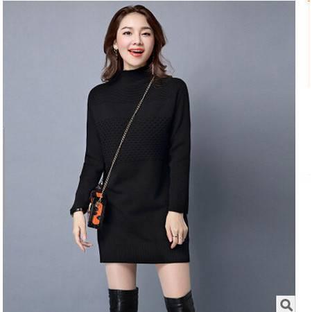秋冬新款韩版时尚毛衣中长款加厚毛衫女高领针织衫洪合