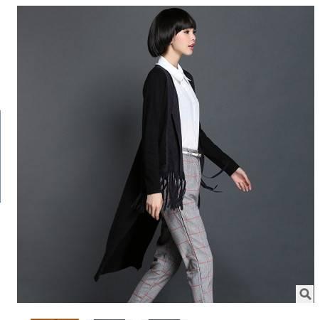 韩版时尚流苏下摆前短后长针织开衫女秋季新款中长款外套 永飞包邮