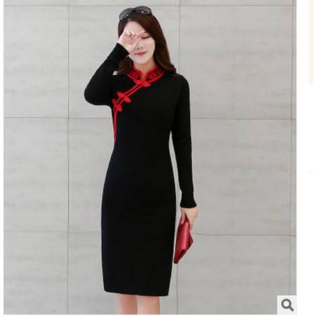 秋冬新款立领套头针织打底衫毛衣女厚中长款修身包臀毛洪合