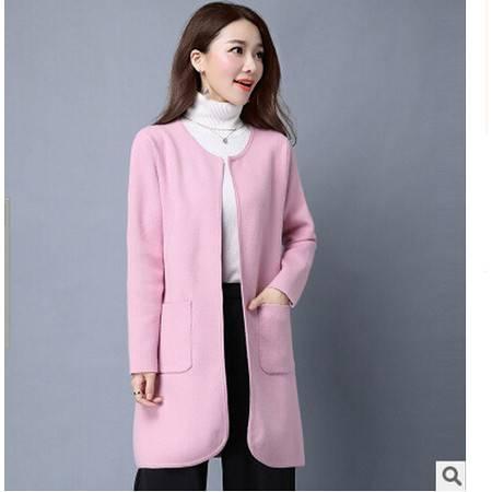 秋季新款韩版大码中长款针织衫开衫女宽松圆领毛衣女外套洪合