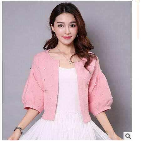 秋季新款韩版短款针织衫钉珠开衫五分袖修身毛衣女外套洪合