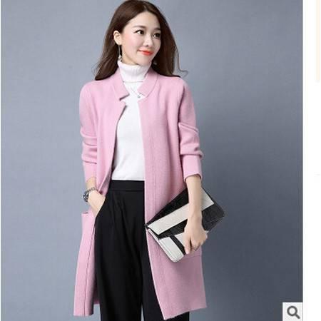 秋冬季新款韩版外套纯色针织开衫宽松中长款立领长袖女士毛衣H洪合