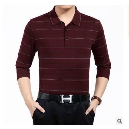 男式条纹体恤爸爸装薄款新款秋装男士长袖T恤中老年羊毛T恤衫祥盛