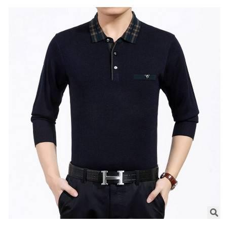 男士薄款秋装中年爸爸新款男式长袖T恤翻领纯色羊毛针织T恤衫祥盛