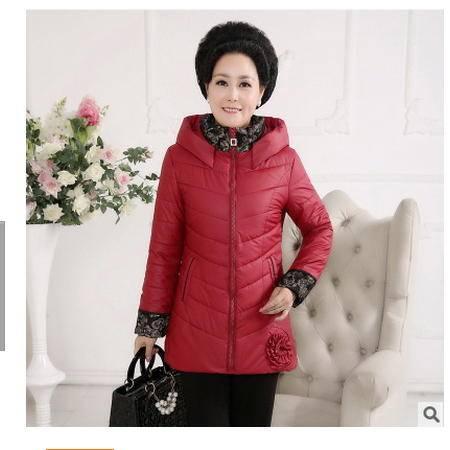 中大码胖妈妈装保暖防风PU皮棉袄老年女装冬装棉衣中长款连帽外套妃凡包邮