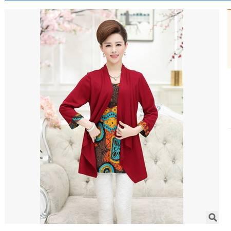 大码胖妈妈装气质上衣t恤秋冬新款中老年女装时尚长袖假两件外套妃凡