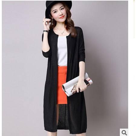 秋装新品韩版长款毛衣开衫大码女装宽松针织衫女外套潮洪合