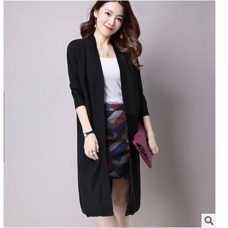 秋季新款韩版女装宽松女式开衫针织衫外套长款纯色毛衣女大衣洪合