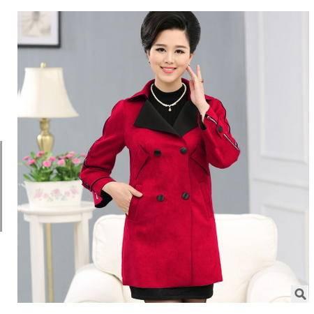中年女装中长款秋冬外套时尚妈妈装新款鹿皮绒百搭纯色风衣妃凡包邮