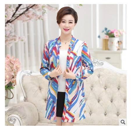 韩版中长款开衫妈妈装上衣中年妇女中老年女装秋装长袖雪纺衬衫妃凡