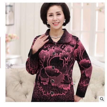 秋装大码中年妇女外套短款妈妈装针织衫开衫中老年女装系卖