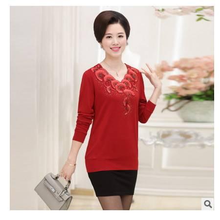 2016年秋冬新款中老年女装宽松大码上衣妈妈装长袖T恤打底衫系卖
