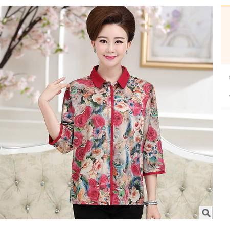 中老年女装妈妈装衬衣七分袖秋季新款花衬衫外套系卖