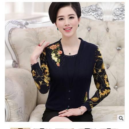 上衣长袖打底衫假两件套中老年女装春装新款针织衫妈妈装系卖
