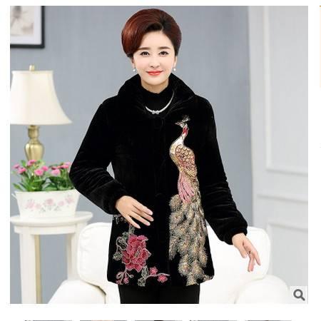 外套中长新款凤凰棉袄大码中老年女装冬装棉衣中年女装冬款系卖