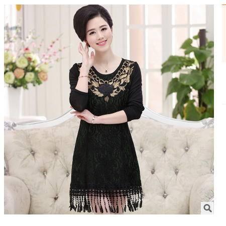 中老年女装春装长袖打底上衣妈妈装40-50岁中老年女装连衣裙系卖