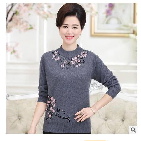 大码中老年女装圆领镶钻长袖毛衣妈妈装秋冬新款时尚羊毛衫系卖