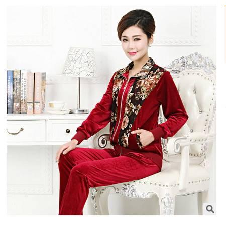 女式休闲金丝绒套装妈妈装新款秋装中老年女装韩国绒运动套装系卖