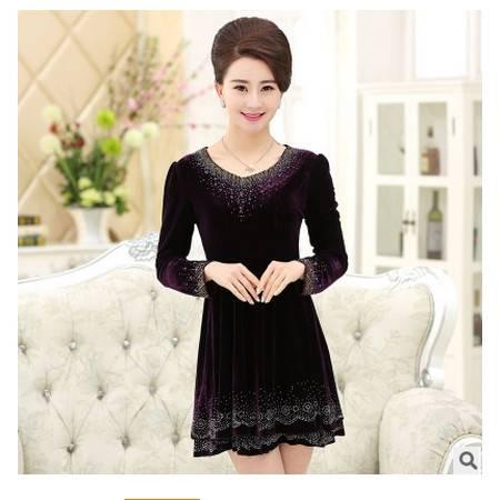 秋季新款金丝绒裙子中老年女装大码韩国绒妈妈装连衣裙系卖