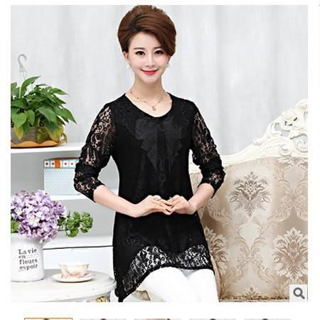 蕾丝长袖时尚40-50大码妈妈装上衣秋装新款中老年女装系卖