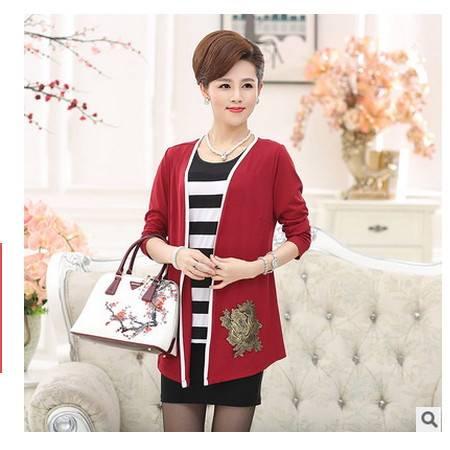 秋装真两件套装针织衫外套秋季新品中老年女装长袖大码妈妈装系卖
