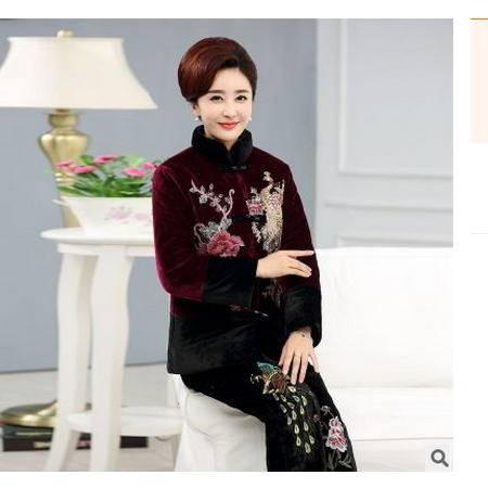 中长款金丝绒棉衣孔雀棉袄中老年女装冬装棉服妈妈冬装外套系卖