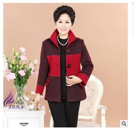 中年女装妈妈装加厚秋款中老年女装春装毛呢子外套系卖