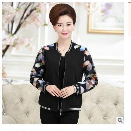 中老年女装休闲棒球服夹克上衣秋新款撞色长袖圆领短款外套系卖