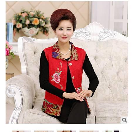 民族风夹克背心妈妈装秋新款纯棉绣花牡丹马甲中老年女装系卖