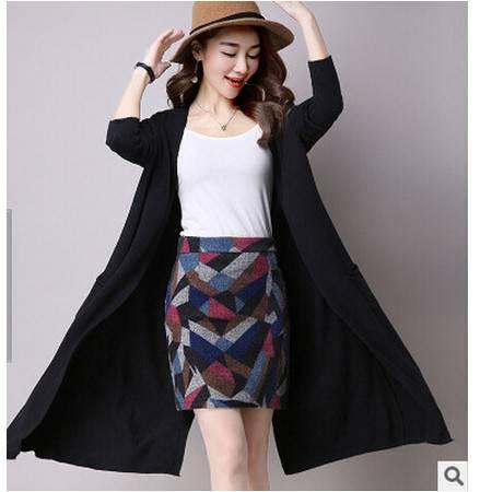 新款女式秋季款开衫圆领纯色长款针织衫女式韩版外套毛衣女洪合