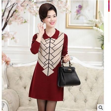 秋冬新款中年女士针织毛衣女中长款妈妈装宽松打底毛衣裙洪合