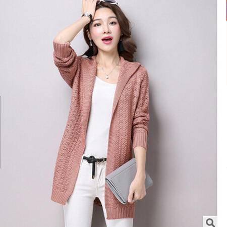 秋季新款 韩版纯色V领中长款毛衣外套开衫 修身镂空针织衫女洪合