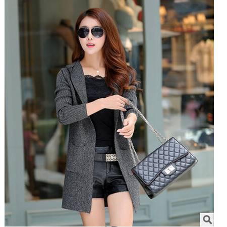 秋季新款韩版潮流时尚针织衫修身女式针织开衫 连帽长袖毛衣洪合