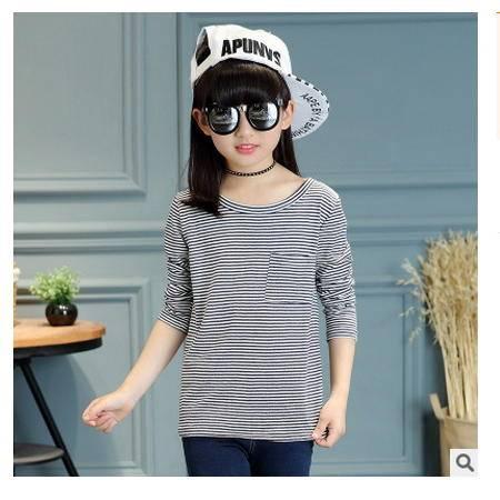 韩版中大童小女孩全棉上衣童装女童长袖口袋条纹T恤怡衣童装