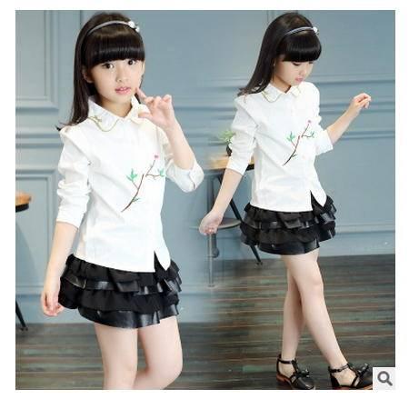 一枝花休闲衬衣韩版中大童宝宝长袖衬衫童装秋季新款女童怡衣童装