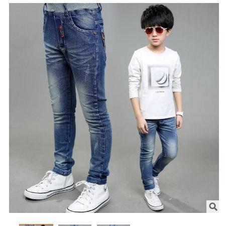秋季韩版中大童儿童纯色长裤新款男童牛仔裤怡衣童装
